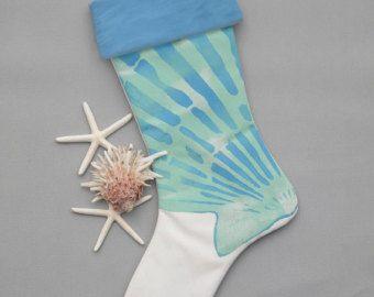 "Christmas stocking scallop shell blue aqua 24"" white coastal beach seashell shelling beachcombing ocean Crabby Chris Original"