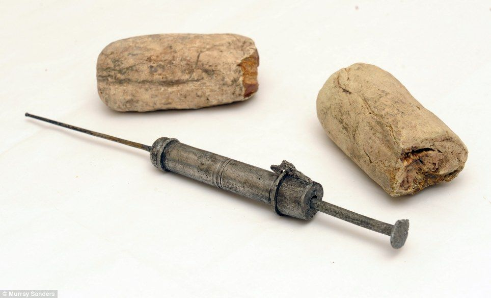 Mercury syringe and field bandages found on board the Mary Rose.  Apparently, the Tudor cure for syphilis was to inject mercury into your urethra.  I *know* syphilis is bad, but... mercury.  In your pee hole.  No!