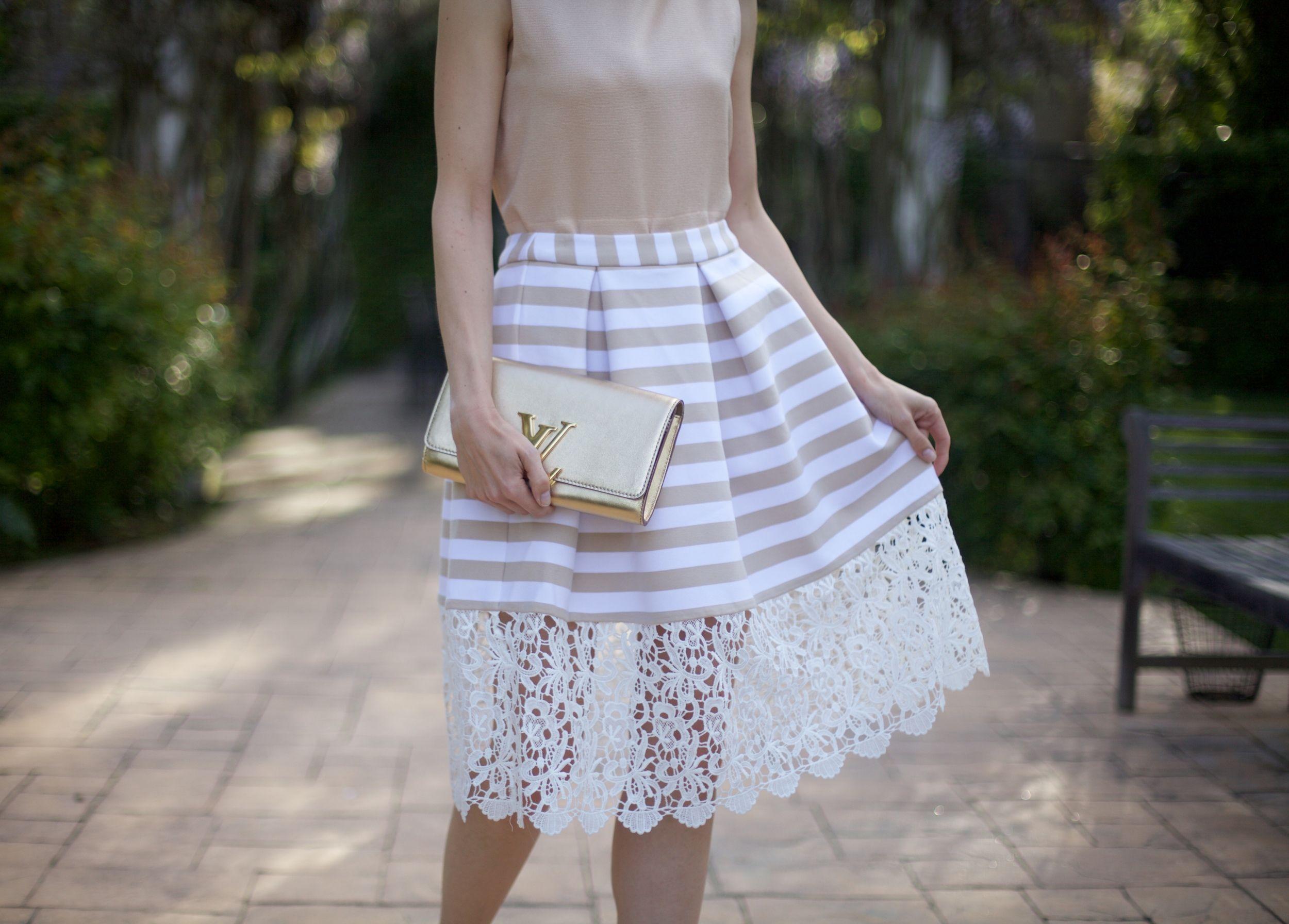 collar top striped lace midi skirt luis vuitton clutch