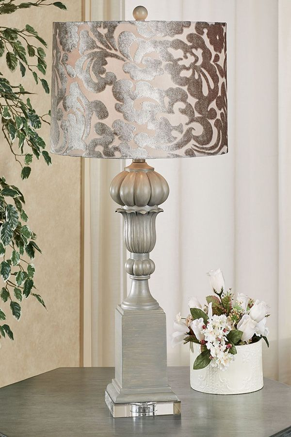 Brynn Classical Table Lamp With Velvet Acanthus Shade Decorative Lamp Shades Grey Table Lamps Living Room Table Lamps Living Room