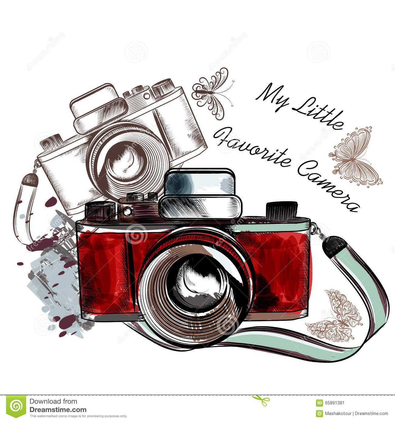 Vintage Camera Graphic Cute Hand Drawn Vintage Camera Vector Illustration Stock Camera Drawing How To Draw Hands Camera Art