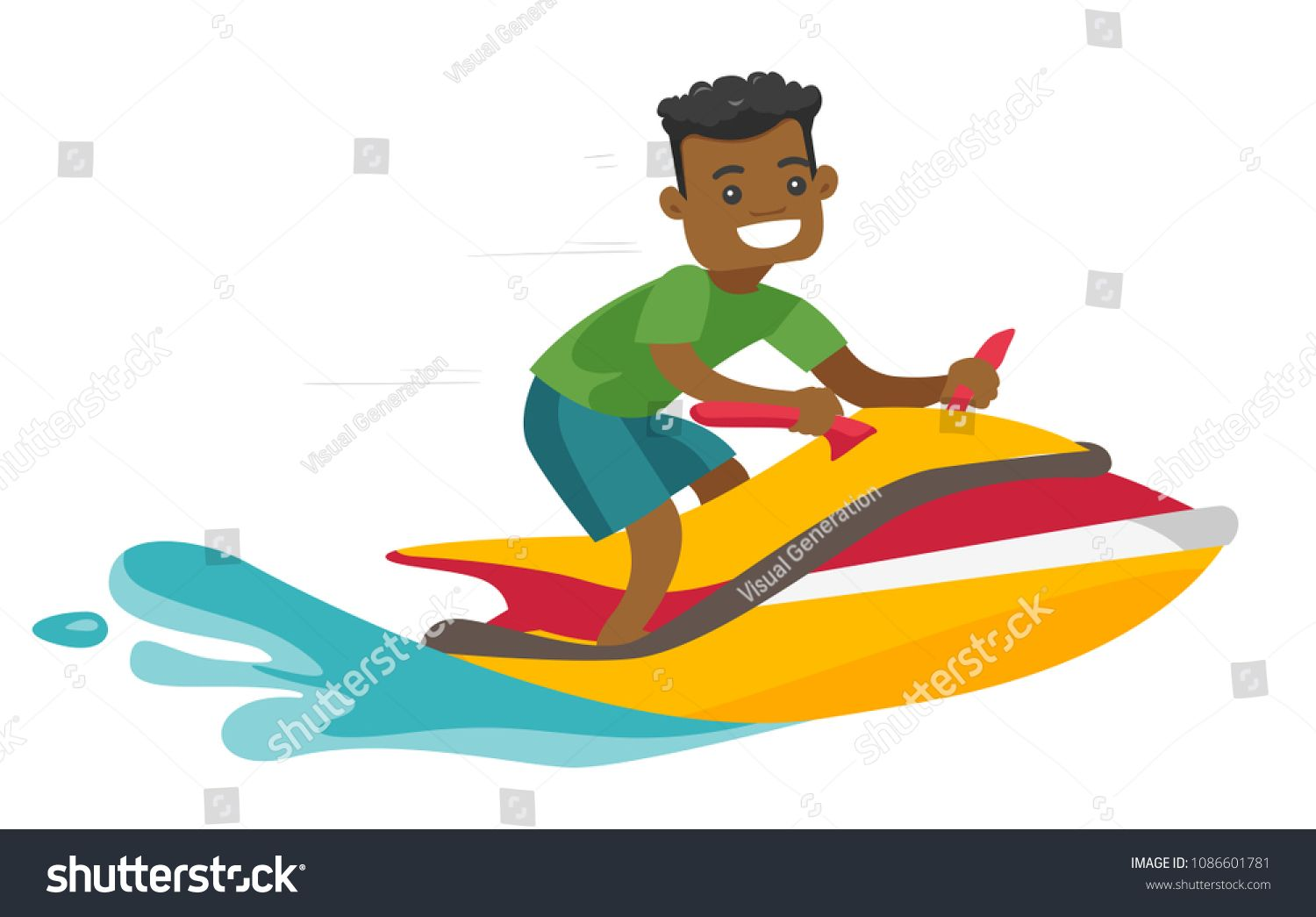 Black Man Riding A Jet Ski Scooter In The Sea At Summer Sunny Day Young Sports Excited Man Riding A Water Scooter Leisure Activities Co Jet Ski Riding Skiing