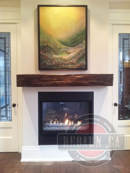 Barn Beam Mantel Modern Fireplace Shiplap Fireplace