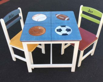 High Quality Sports Table U0026 Chair Set, Hand Painted Childrenu0027s Furniture, Boys Table  Set, Painted