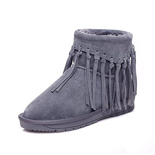 WeiPoot Womens Frosted Solid ClosedToe Boots with Antiskidding Bottom Gray  36     Click on 3918a3bfcb8c