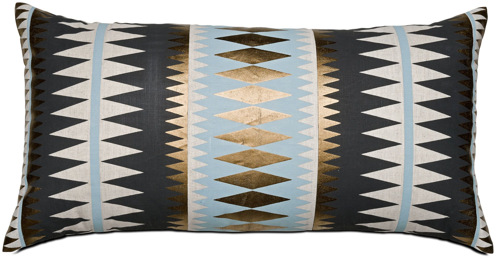 Modern Gold Pillows : BoConcept modern geometric throw pillow in black / light gray / bronze gold. Furniture ...