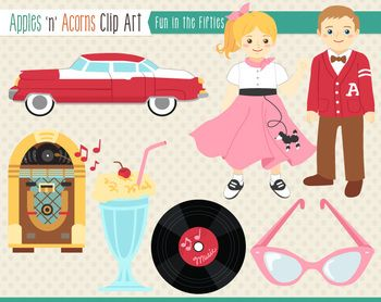 1950s Fun in the Fifties Clip Art - color and outlines | Colors ...