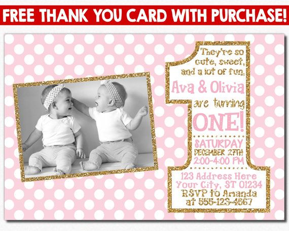 Pink And Gold Twins First Birthday Invitation With Photo Etsy Birthday Invitations Twins 1st Birthdays First Birthday Invitations