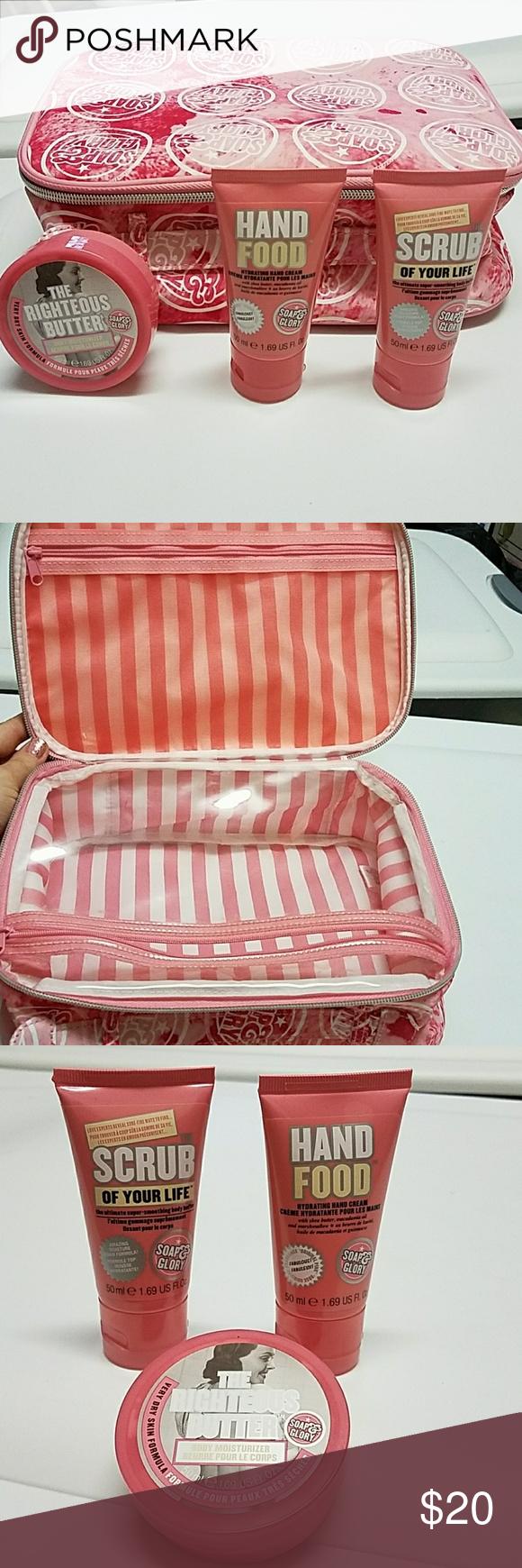 Soap & Glory bag, travel size products Moisturizer