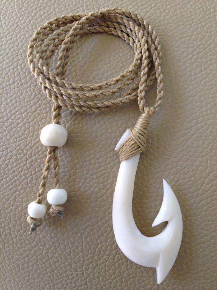 "Adjustable cord Hawaiian Fishhook Necklace Carved From Buffalo Bone Large 2/"" T"