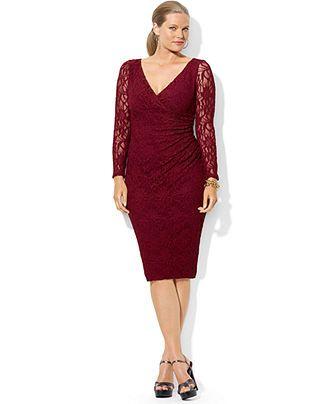 Lauren Ralph Lauren Plus Size Dress, Long-Sleeve Lace - Plus Size Dresses -