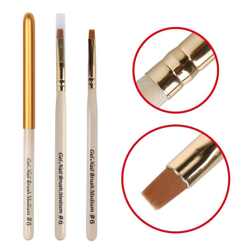Elite99 Acrylic Uv Gel Nail False Tips Builder Brush No 6 Kit Brush Pen For Soak Off Uv Led Gel Nail Polish Wood Han Acrylic Nail Brush Gel Nails Diy Gel Nails