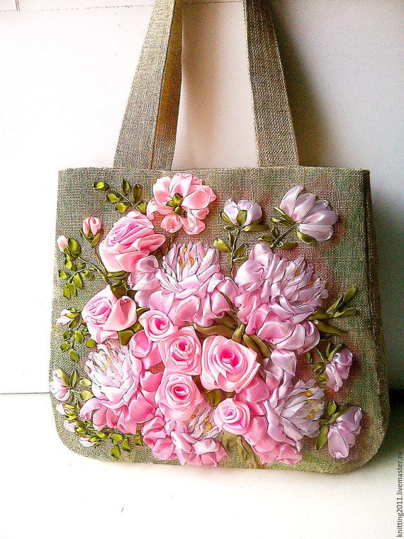 Embroidery Bag Flower Garden Hand embroidered by