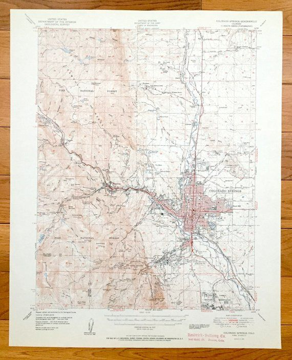 Topographic Map Colorado Springs.Antique Colorado Springs Colorado 1951 Us Geological Survey