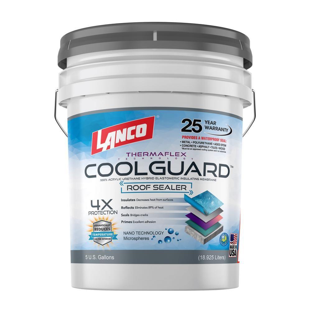 Lanco 5 Gal Coolguard 100 Acrylic Urethane Elastomeric Reflective Roof Coating With Dramatic Temperature Reducti In 2020 Roof Coating Rubber Roof Coating Roof Panels