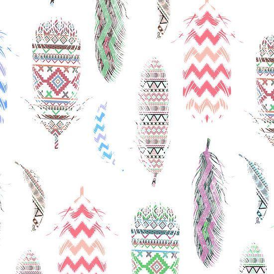 Pink Feathers Falling Wallpaper Feathers Pink Tribal Aztec Teal Chevron Pattern Fun