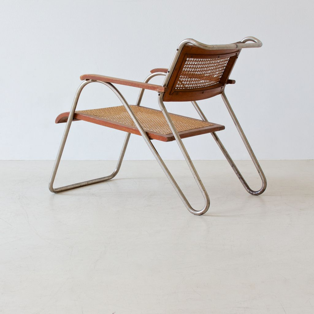 Mid Century Modern Design Tubular Steel Chair Designed By Erich  # Muebles Nacho Polo