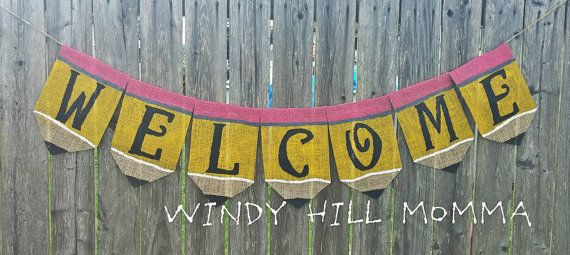 Back to School Pencil Welcome Burlap Banner by WindyHillMomma