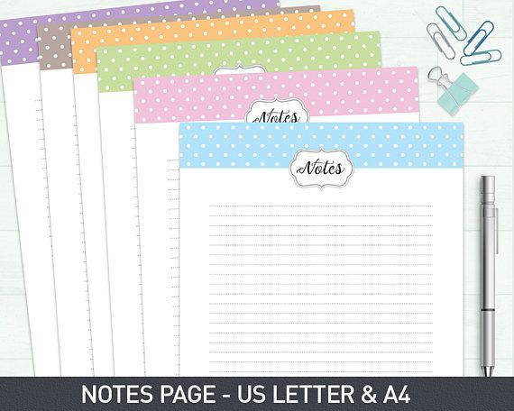 Notes Page Printable Filofax Inserts Filofax Printable Klamp - goods received note format