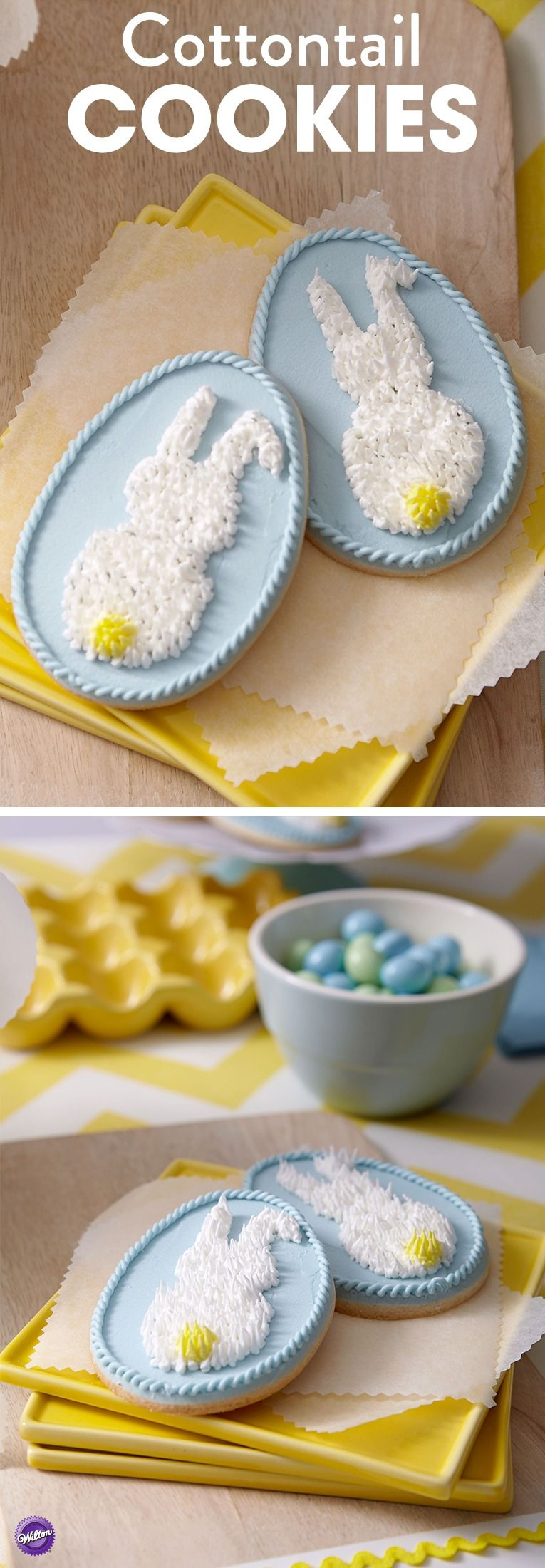 Fuzzy meets crunchy on egg-shaped bunny cookies in soft springtime blue. Decorate the fun pull-out fur with royal icing and tip 233. These Cottontail Cookies will be a hit at your Easter celebration!