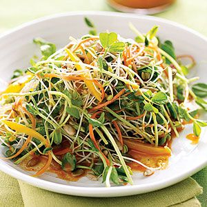 Power up with mini greens: Spicy Sunflower Salad with Carrot Dressing