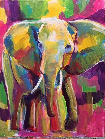 Elephant Dance by Betsy Harper Acrylic ~ 14 x 11