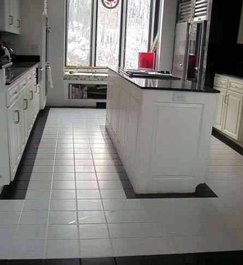 White Clean Kitchen Designs With Ceramic Tile Floor In