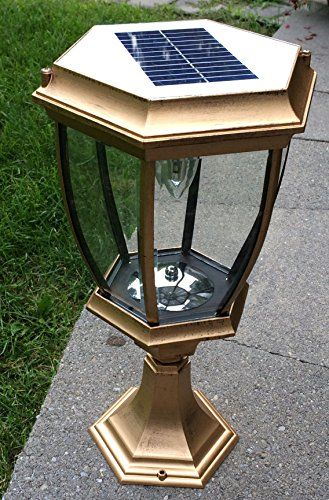 Kendal Large Outdoor Solar Ed Led Light Lamp Sl 8404 Elegant Kits With Gold Finish Measures 9 Inches In Diameter By 16