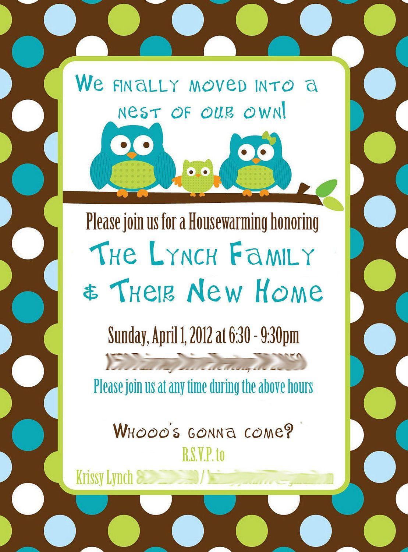 What To Say On A Housewarming Invitation | Custom Owl Housewarming ...