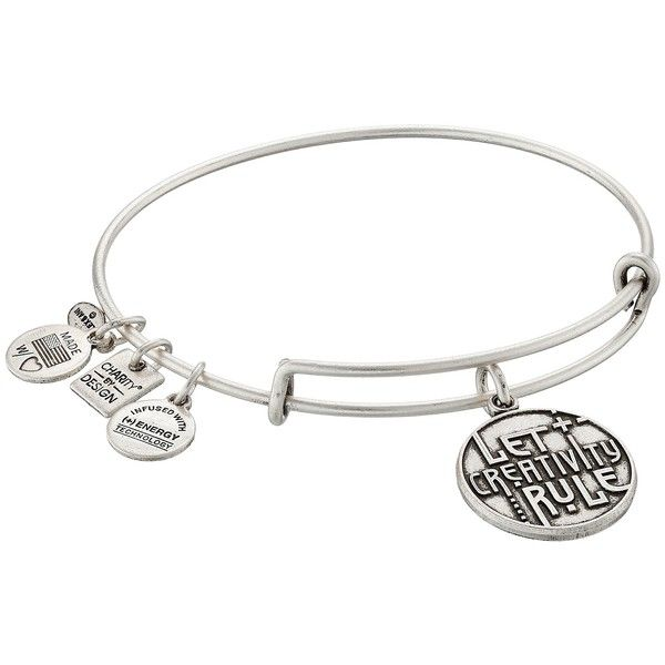 Alex and Ani Charity by Design Let Creativity Rule Charm Bangle... ($28) ❤ liked on Polyvore featuring jewelry, bracelets, adjustable bangle, alex and ani bangles, alex and ani, charm bracelet bangle and bangle charms