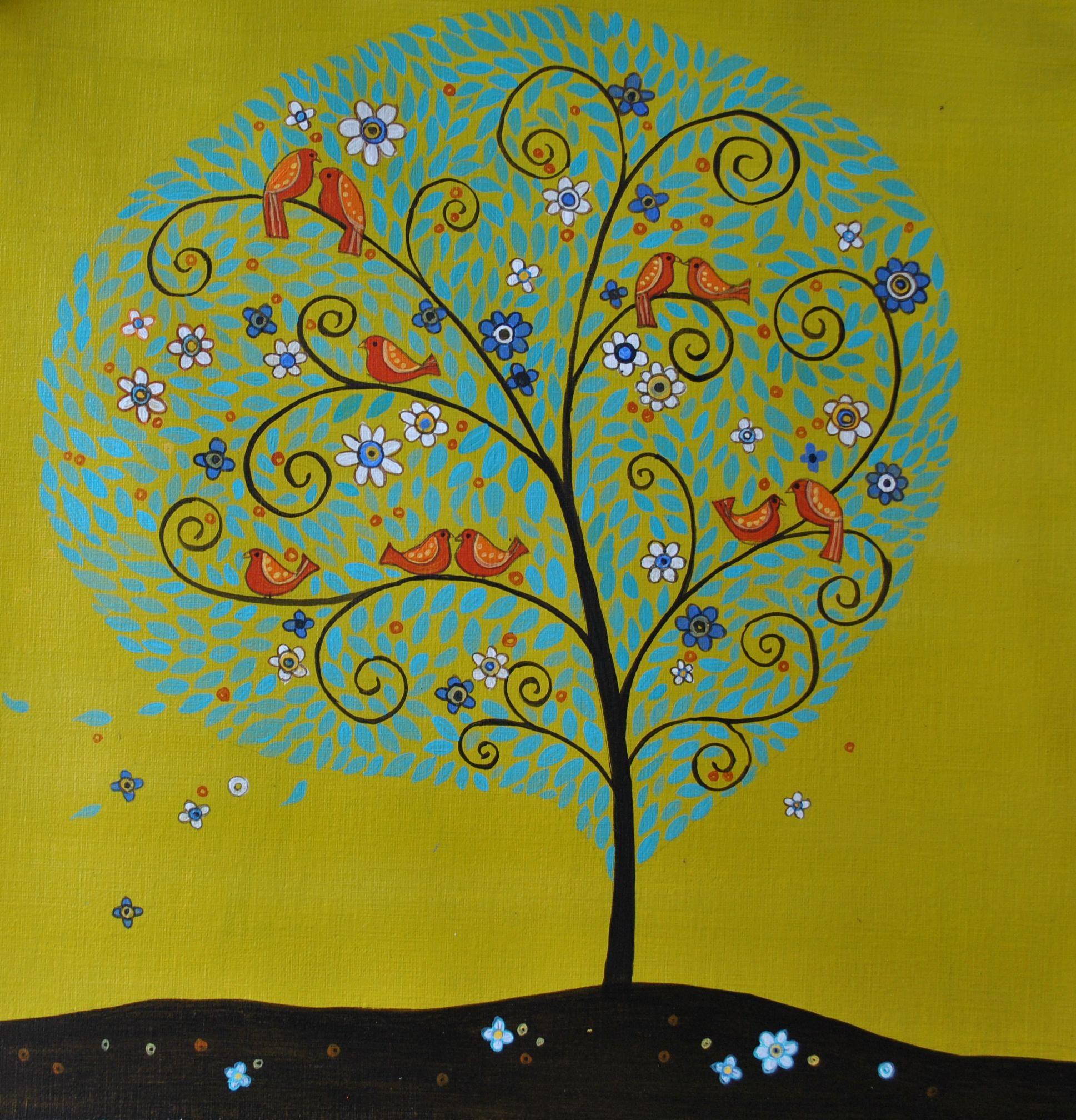 Spring time Birds,Acrylic painting on Textured board, Folk style Art ...