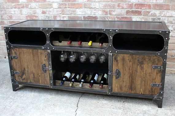 Modern Industrial Wine Cabinet | Credenza Bar Storage | Liquor Cabinet |  Buffet | Sideboard | Home Sweet Home | Pinterest | Wine Cabinets, Furniture  And ...