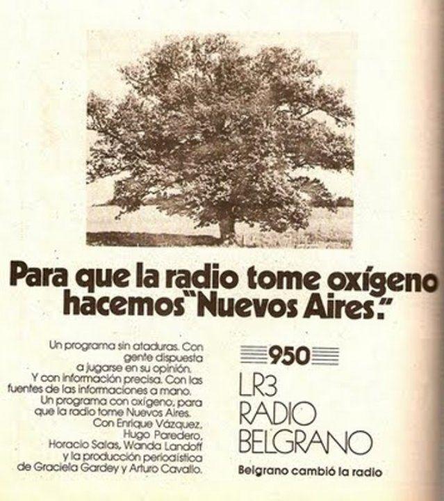 Publicidad de Radio BELGRANO, Buenos Aires, década del 70.