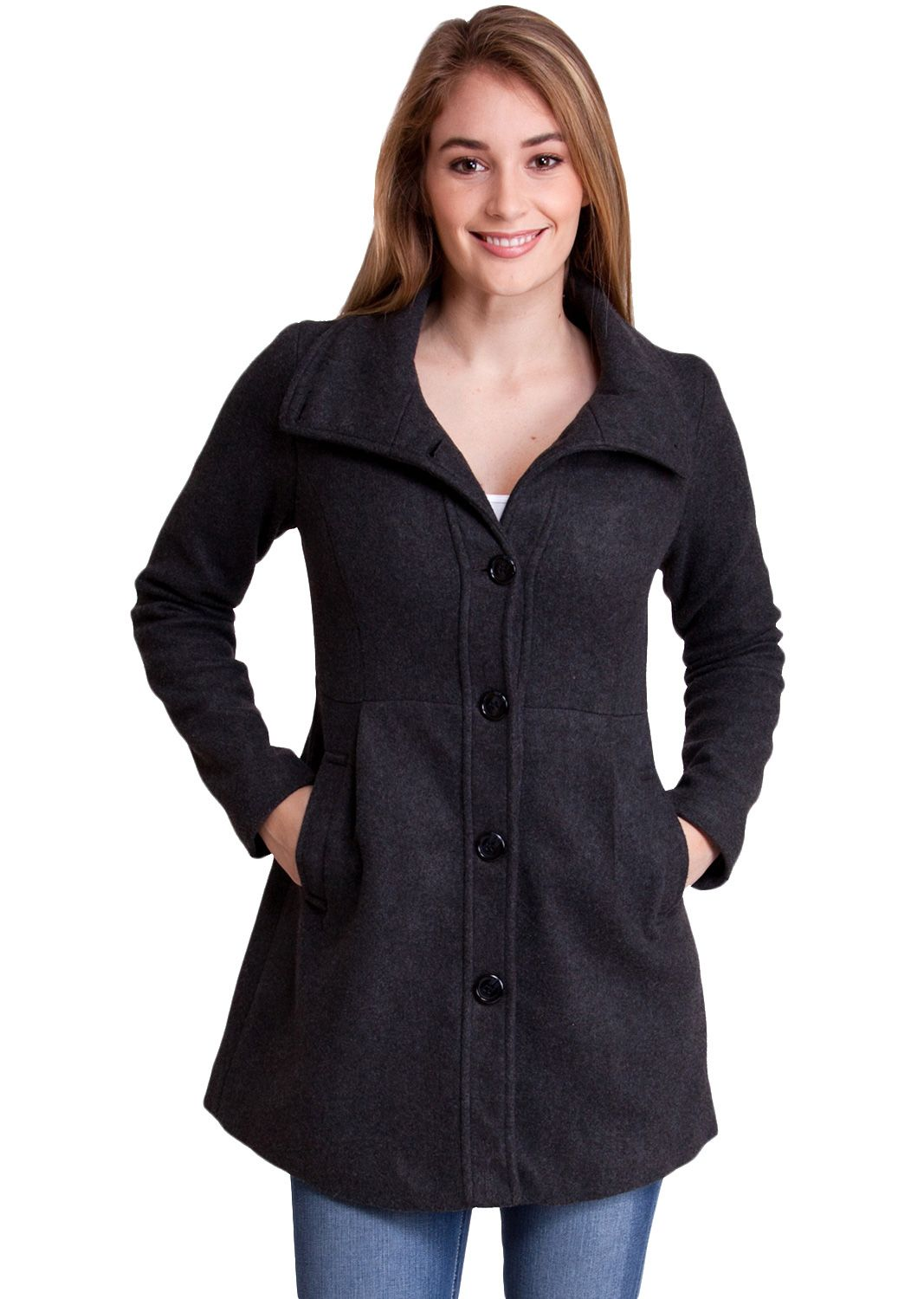 Collared Five Button Winter Jacket J30524CH, clothing, clothes, womens clothing, jeans, tops, womens dress