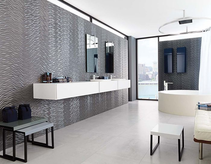 This ultra modern bathroom has a unique feature wall using for Ultra modern bathroom