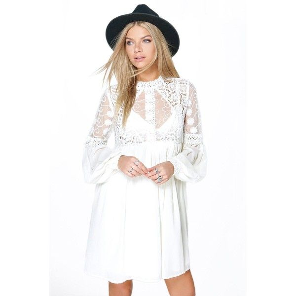 22ed47cfe0e00 Boohoo Boutique Boutique Lola Lace High Neck Babydoll Dress ($44) ❤ liked  on Polyvore featuring dresses, cream, maxi dress, white tuxedo, lace  bodycon ...