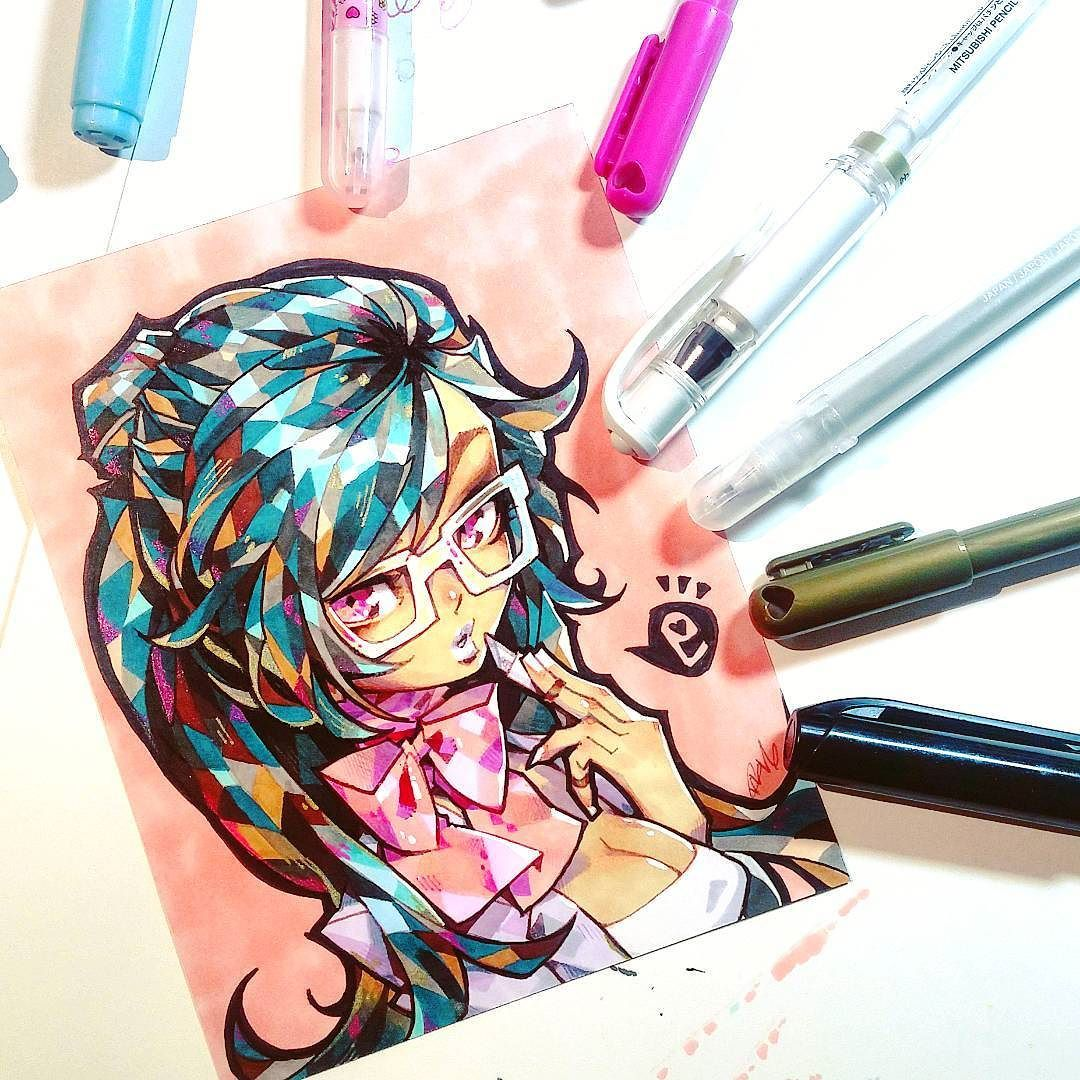 gift art for a friend  copics and gel pens on deleter paper by shifuusakurai