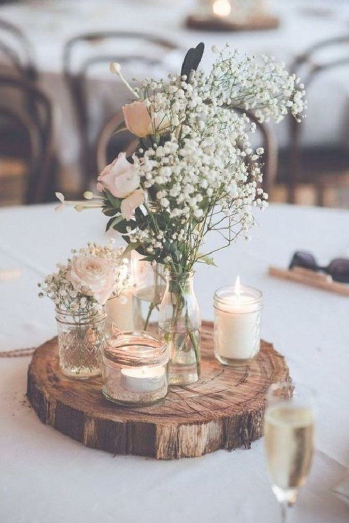 Unique Wedding Reception Ideas On A Budget Old Glasses Candles And Wooden Slice Used For W Diy Wedding Decorations Wedding Table Simple Wedding Decorations