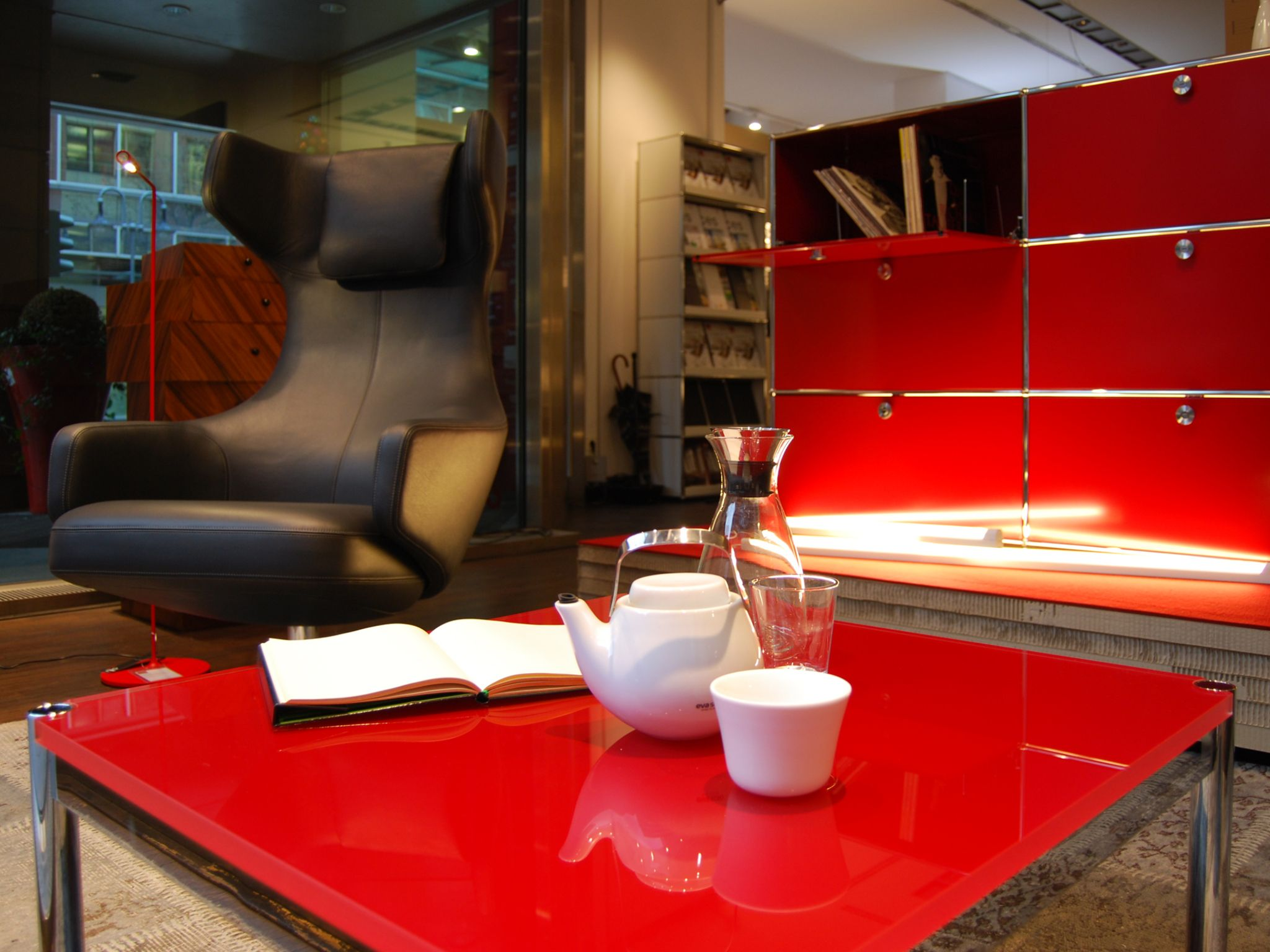 Frick Frankfurt usm haller coffee table and usm haller sideboard in ruby