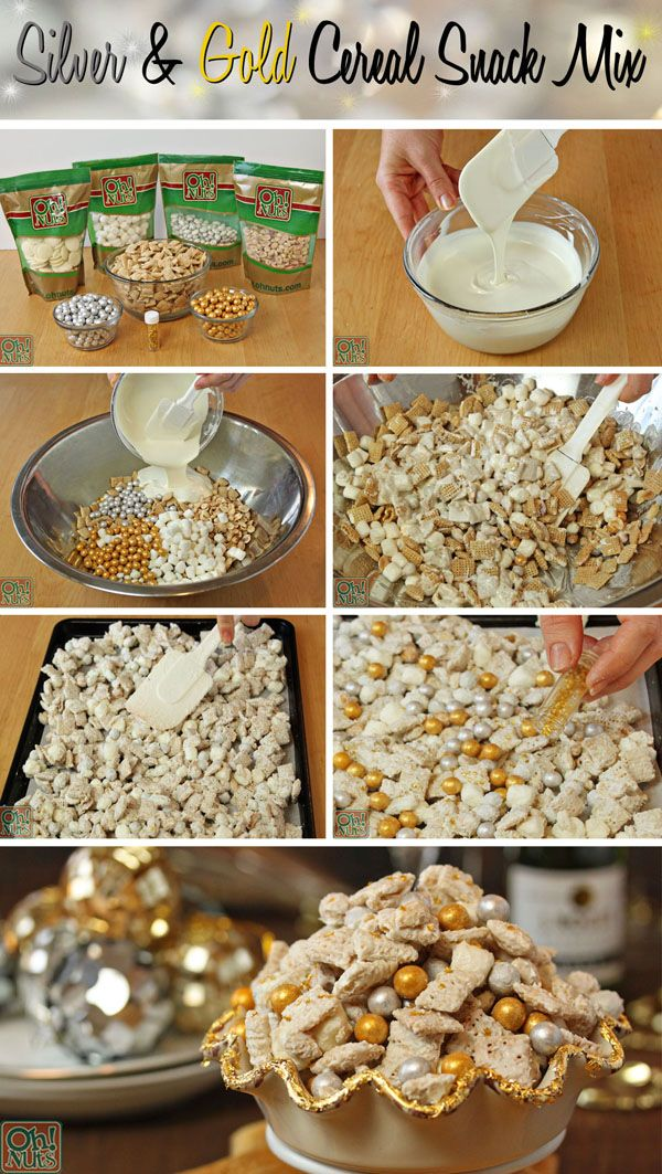 Party Food Idea Silver And Gold Cereal Snack Mix Anniversary