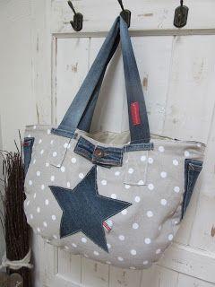 beachbag upcycling alte jeans neue tasche pedishandmade pedishandmade pinterest. Black Bedroom Furniture Sets. Home Design Ideas
