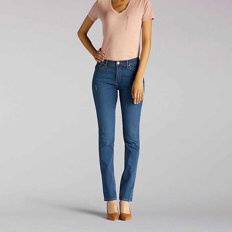 93c63f57 Lee Women's Slimming Fit Rebound Slim Straight Leg Jeans - Petite (Size 10  x P)