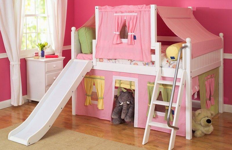 girls slide loft bed | Shabby chic girls rooms | Pinterest