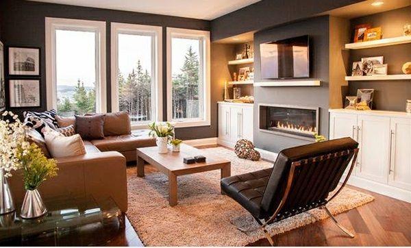 Wohnzimmer Ideen Modern Lounge Sessel Leder Kamin
