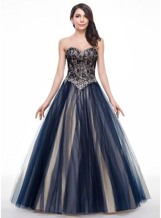 Ball-Gown Sweetheart Floor-Length Tulle Lace Prom Dress With ...