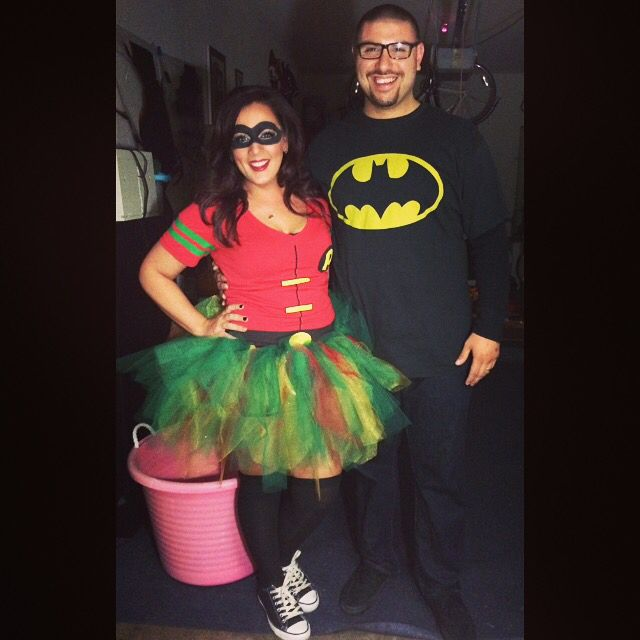 batman robin halloween costumes shirts are from spirit and made my tutu super easy makeup mask using black eyeliner and eyeshadow 2014