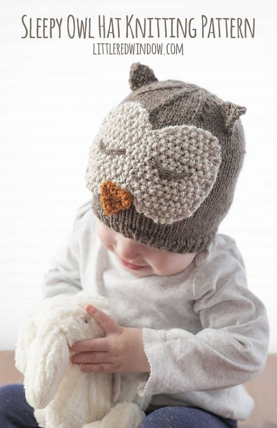 Sleepy Owl Hat KNITTING PATTERN - knit hat pattern for babies ...