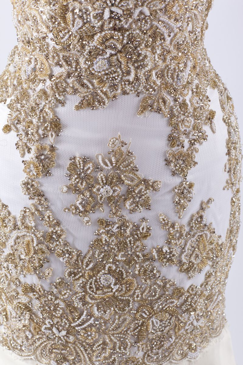 G haute couture evening gown made with finest french lace