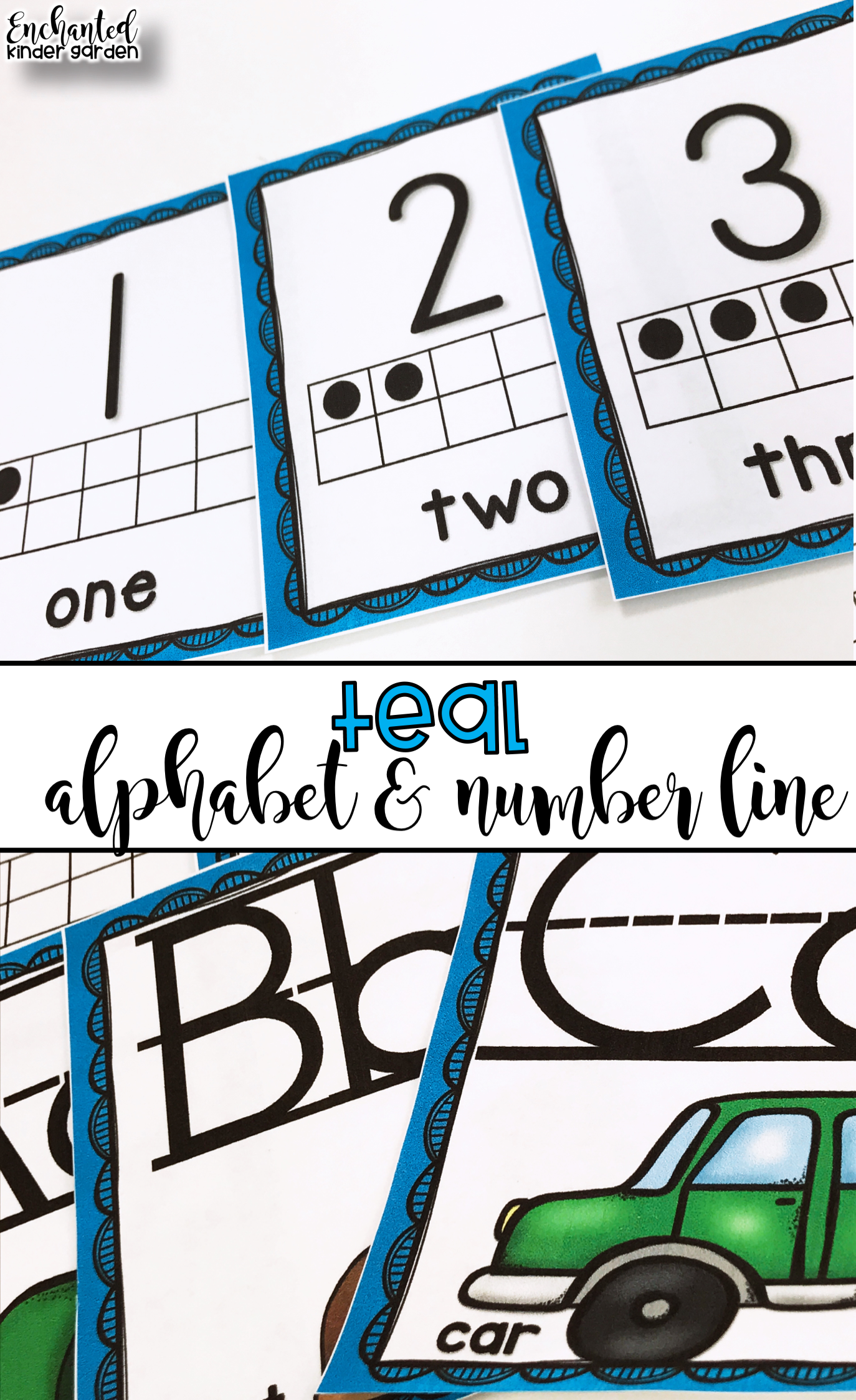 This Teal Set Of Alphabet Posters And Number Line To 20 Posters Are Easy Printables Print Laminate And Hang Them T Number Line Alphabet Line Alphabet Poster