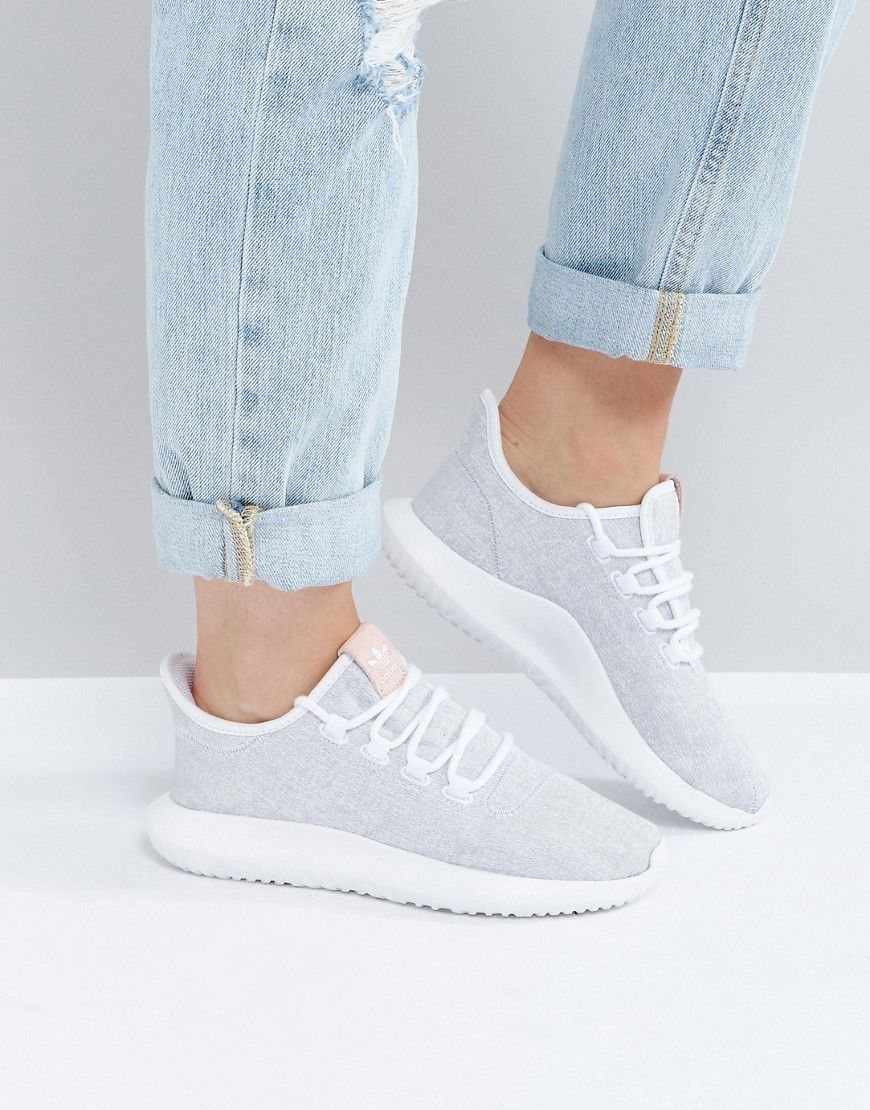 44eb5560cefd5 adidas Originals Tubular Shadow Sneaker In White With Pink Branding ...